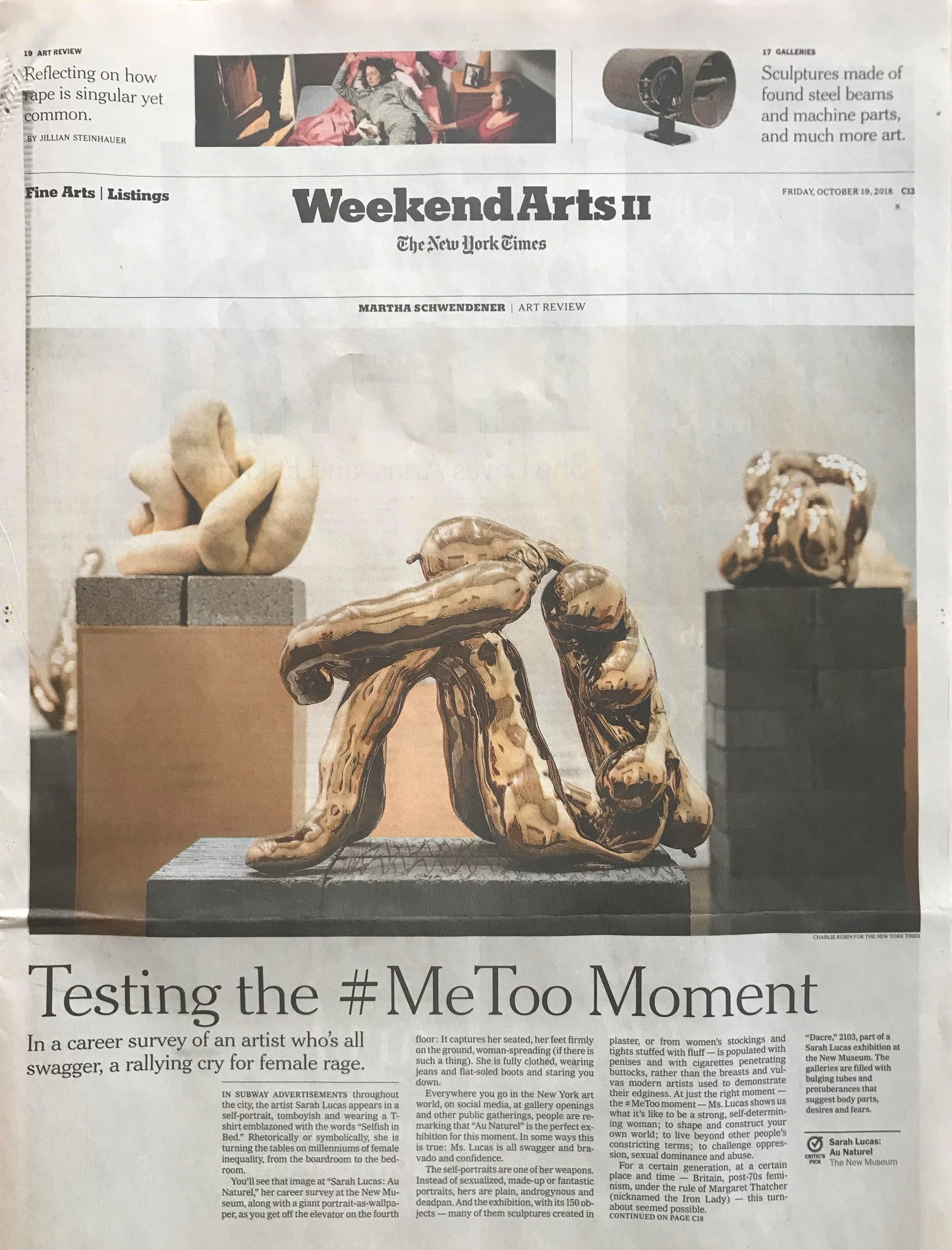 The New York Times:  Testing the #MeToo Moment , by Martha Schwendener, October 16, 2018
