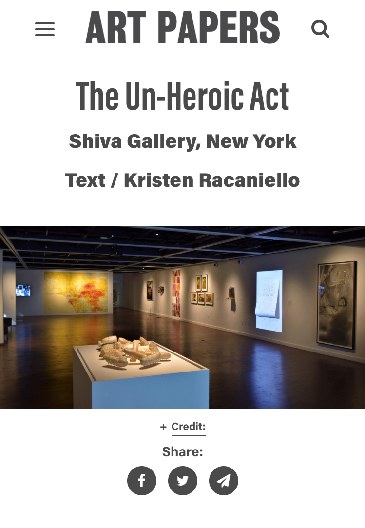 ART PAPERS:  The Un-Heroic Act , by Kristen Racaniello, November 1, 2018