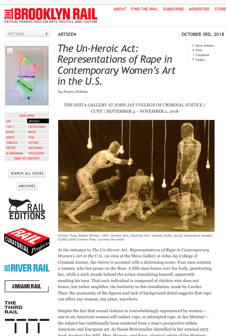 Brooklyn Rail:  The Un-Heroic Act: Representations of Rape in Contemporary Women's Art in the U.S. , by Jessica Holmes, October 3, 2018