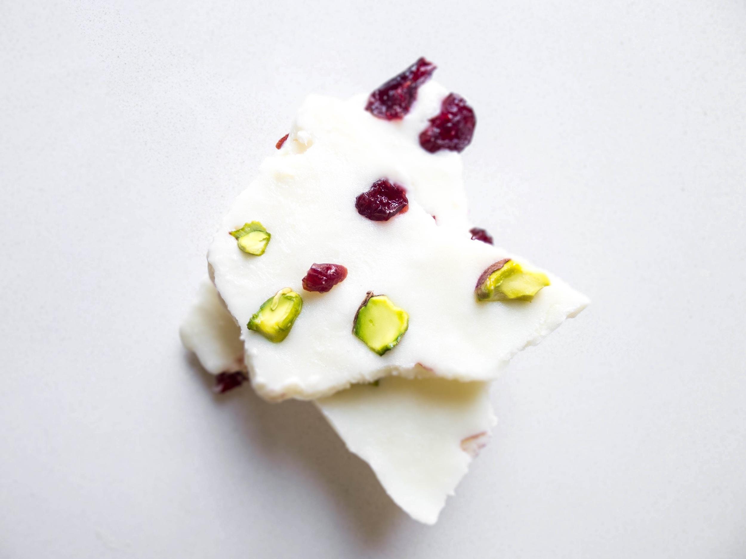 Pistachio + Cranberry Yogurt Bark