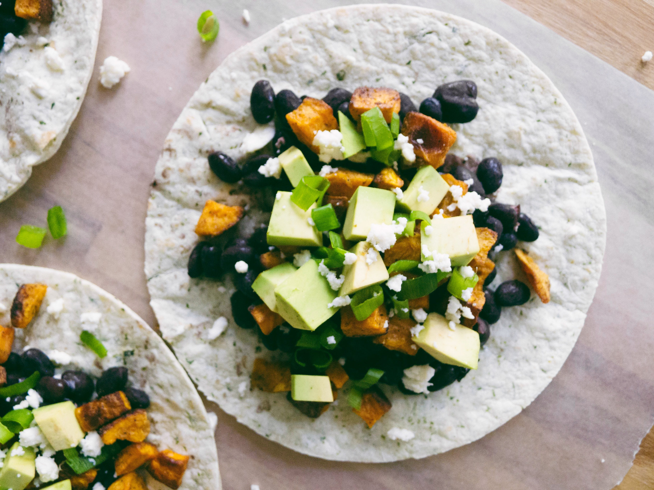 sweet potato and avocado tacos