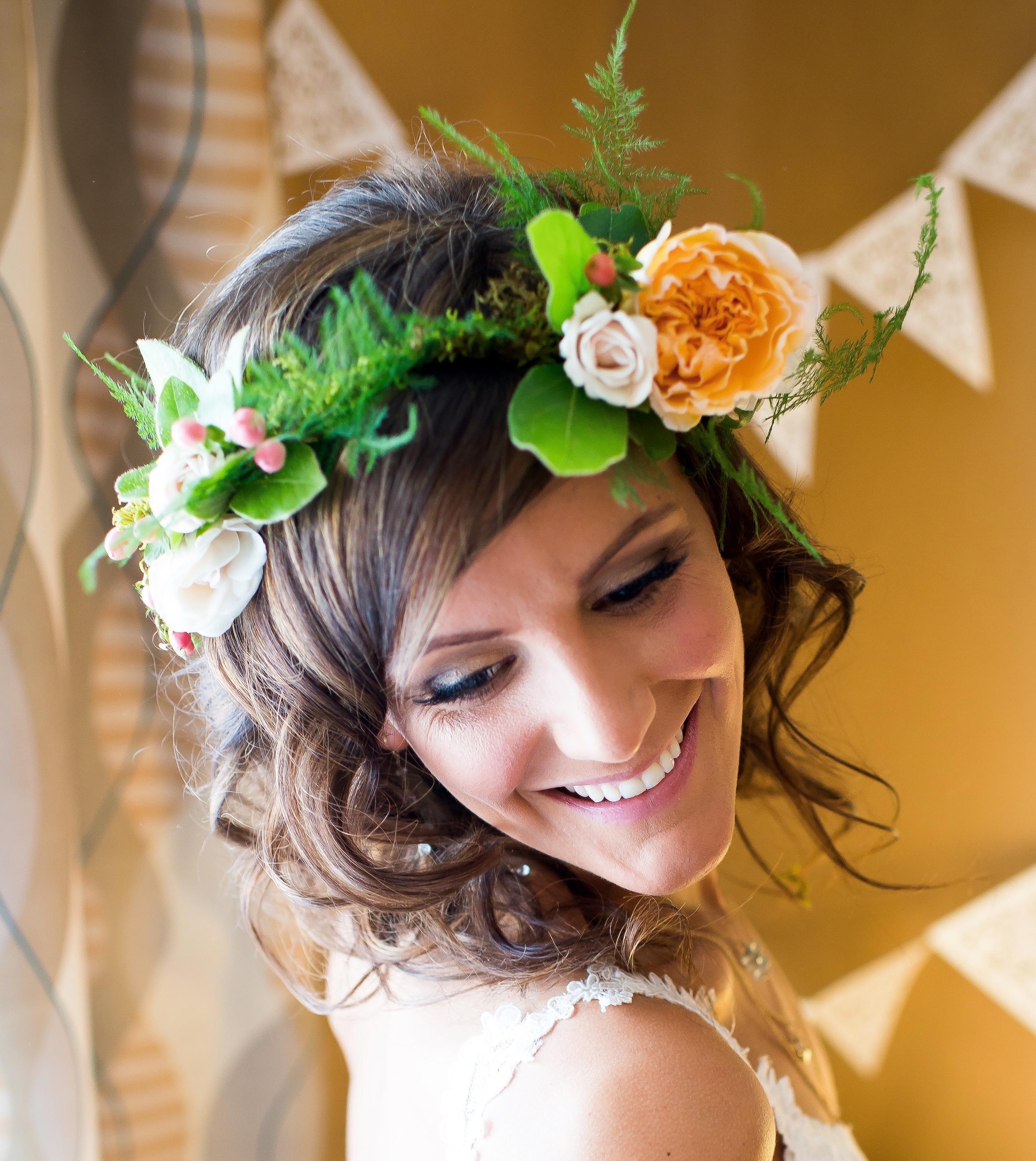 Bride's peach flower crown