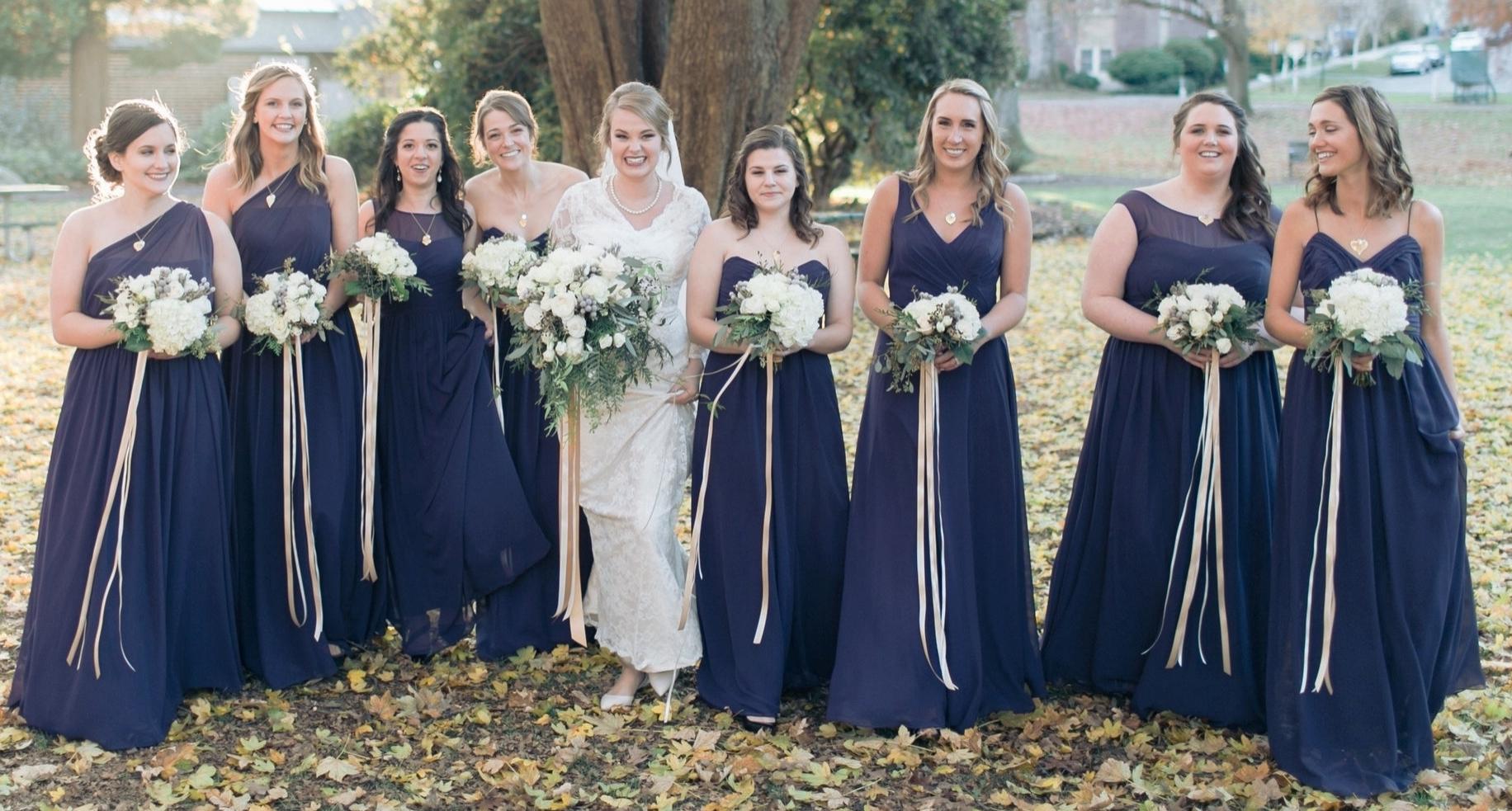 Winter wedding party Matthew Land Photography