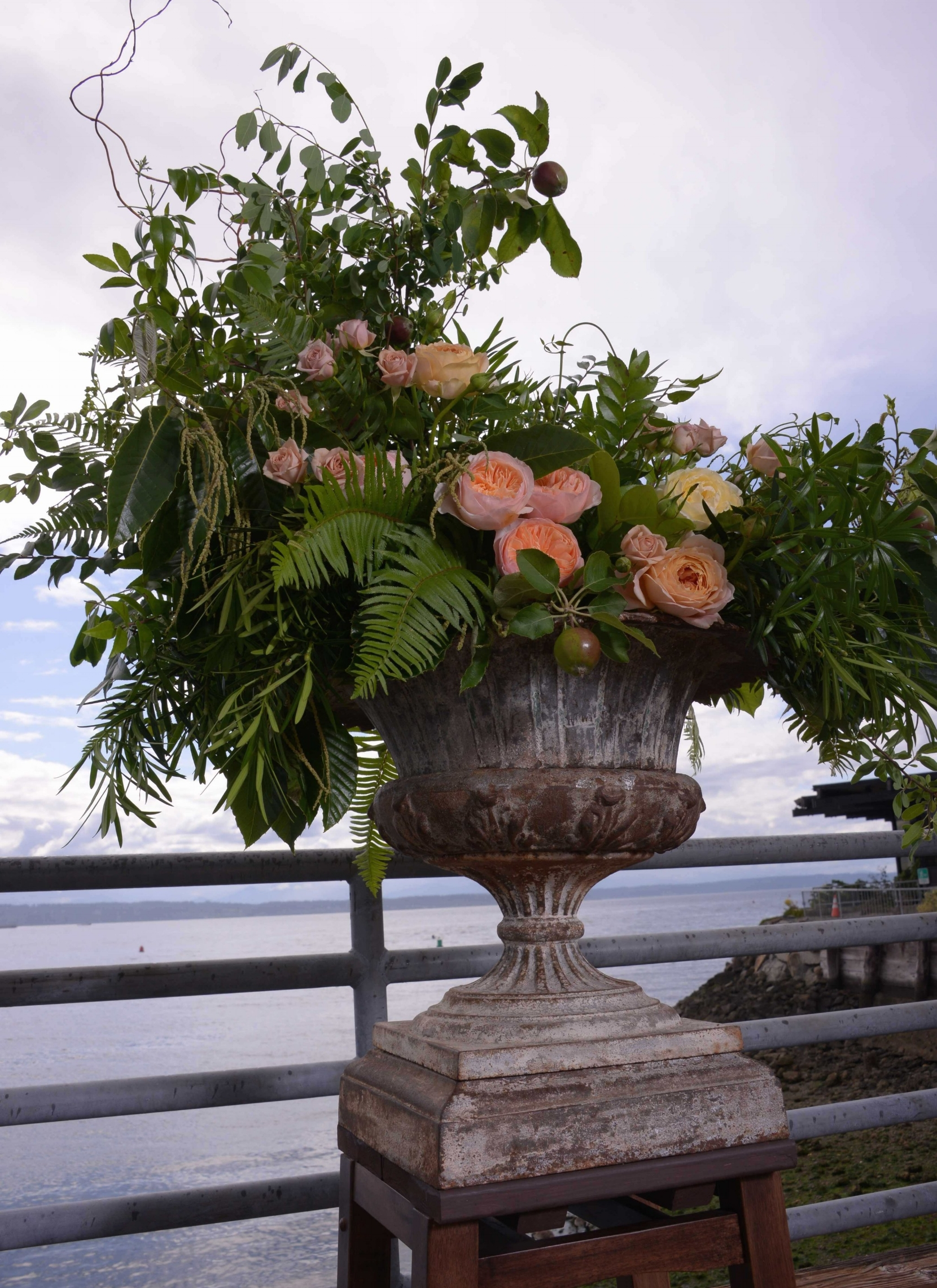 Ceremony antique urn and garden roses - Paul Dudley Photography