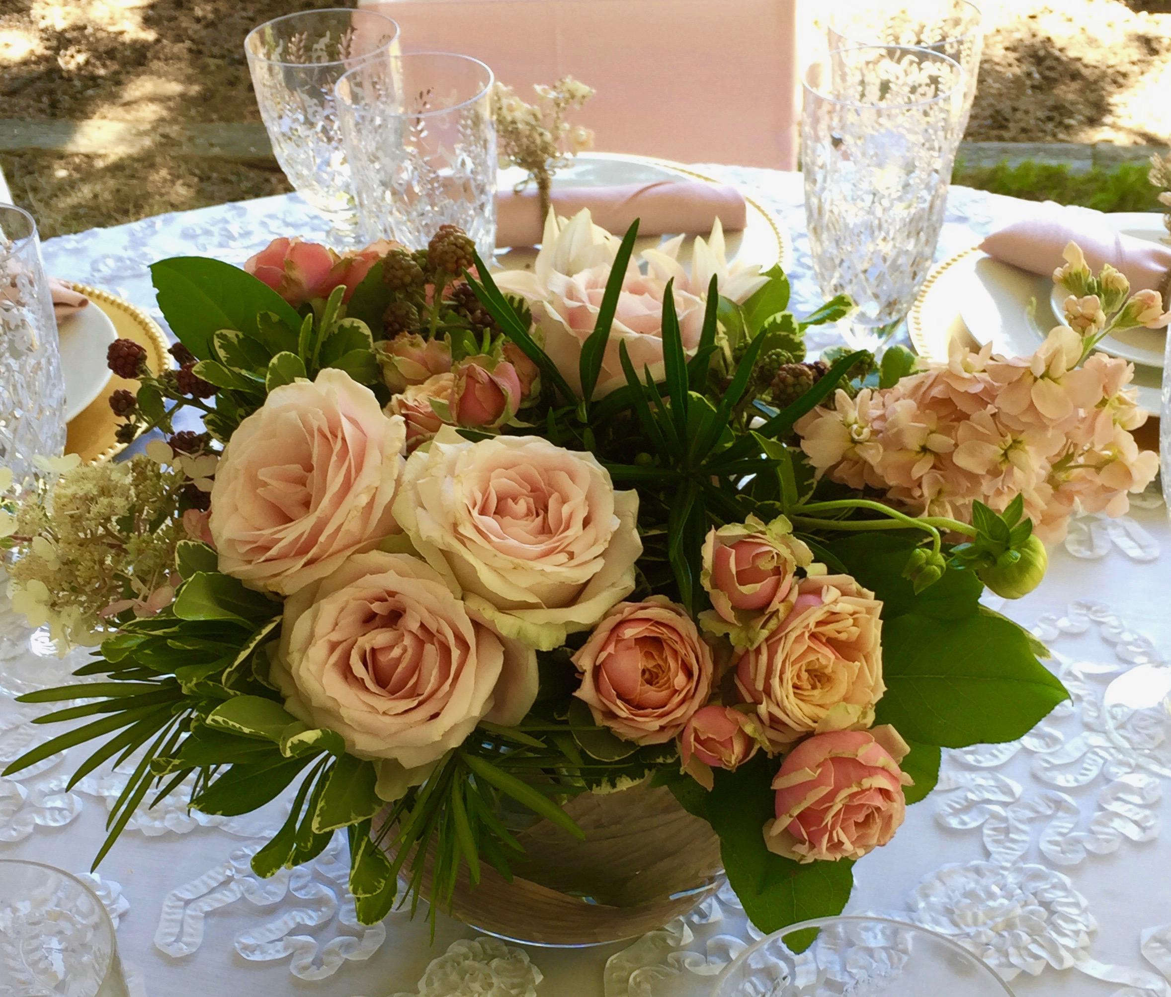 Blush tones-centerpiece with garden roses, stock and dahlias