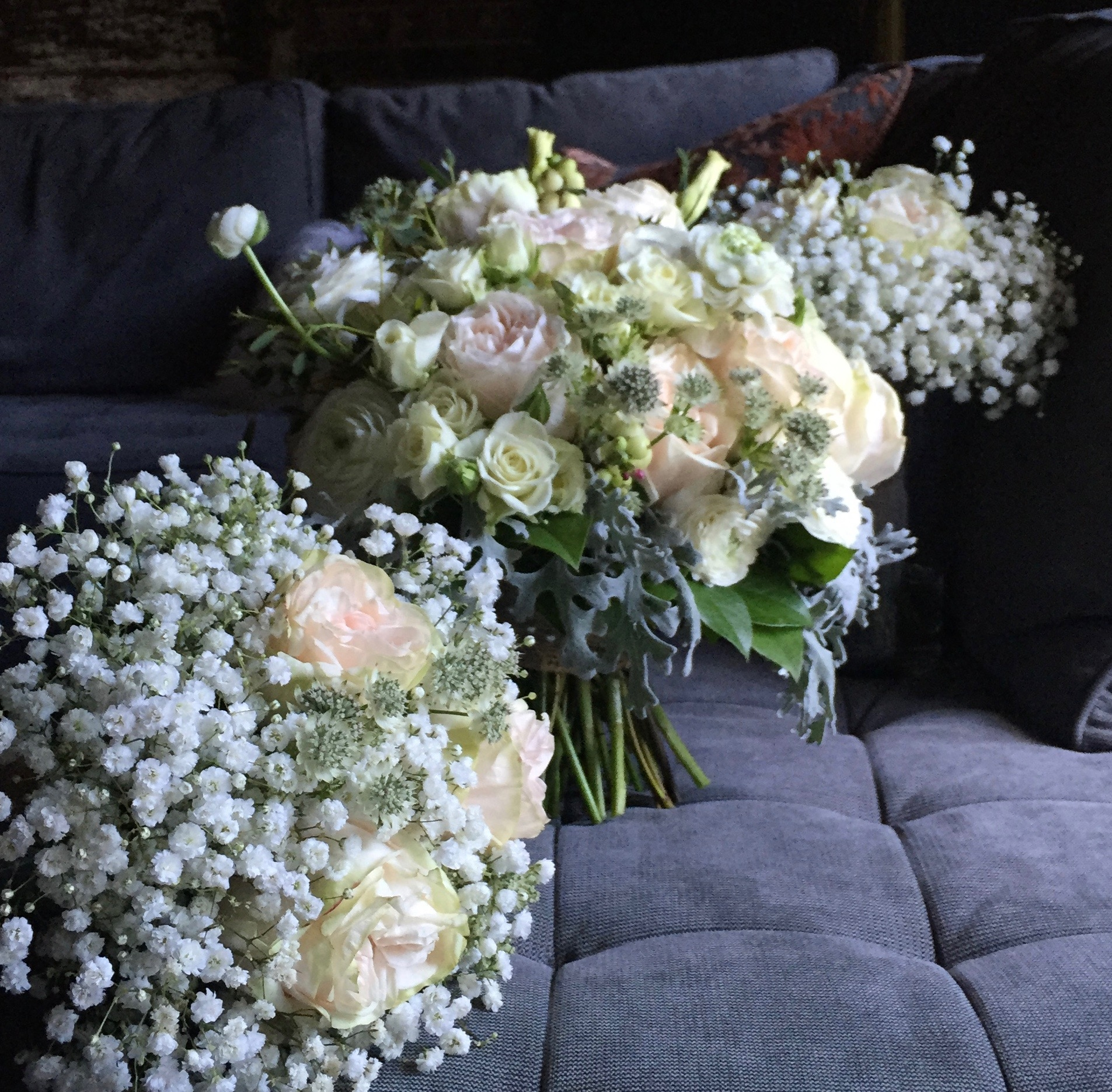 Blush & gray bridal bouquet