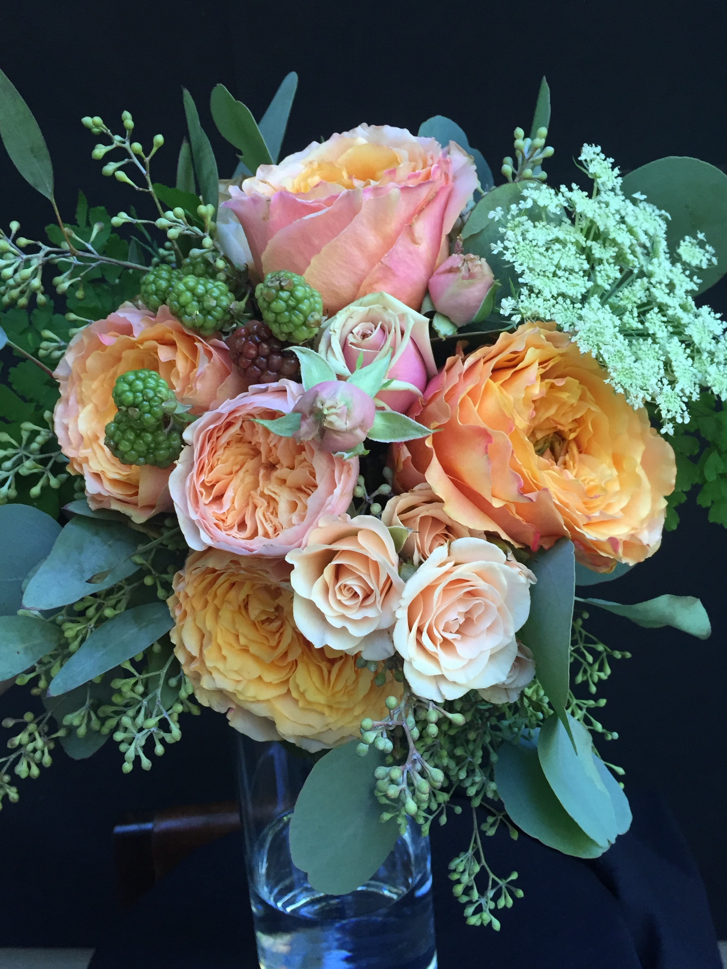 Bouquet with Juliett garden roses eucalyptus and Queen Anne's lace.