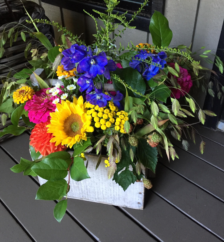 Wildflowers in wooden box reception flowers