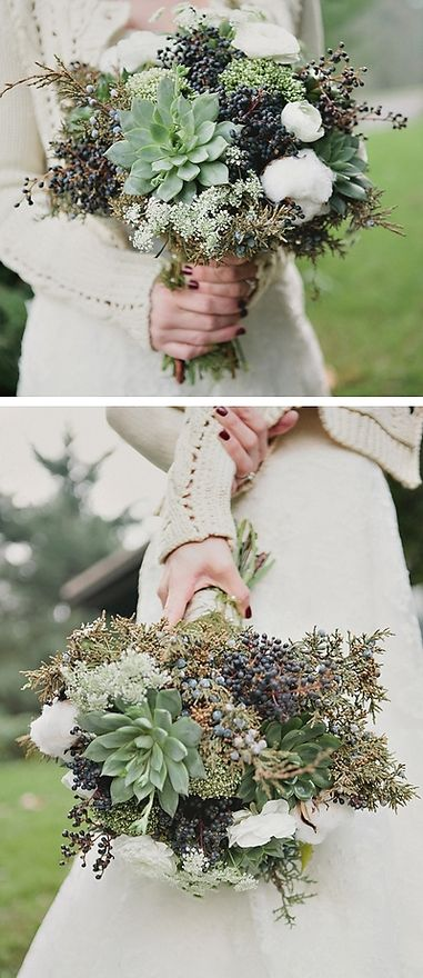 Greenery bouquet with lots of textures www.kootenaywedding.com