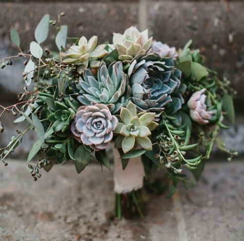 Succulent bridal bouquet by JL Designs photo byAaron Young via weddings.com