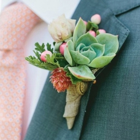 Pops of pink succulent bouttonierre via Style Me Pretty