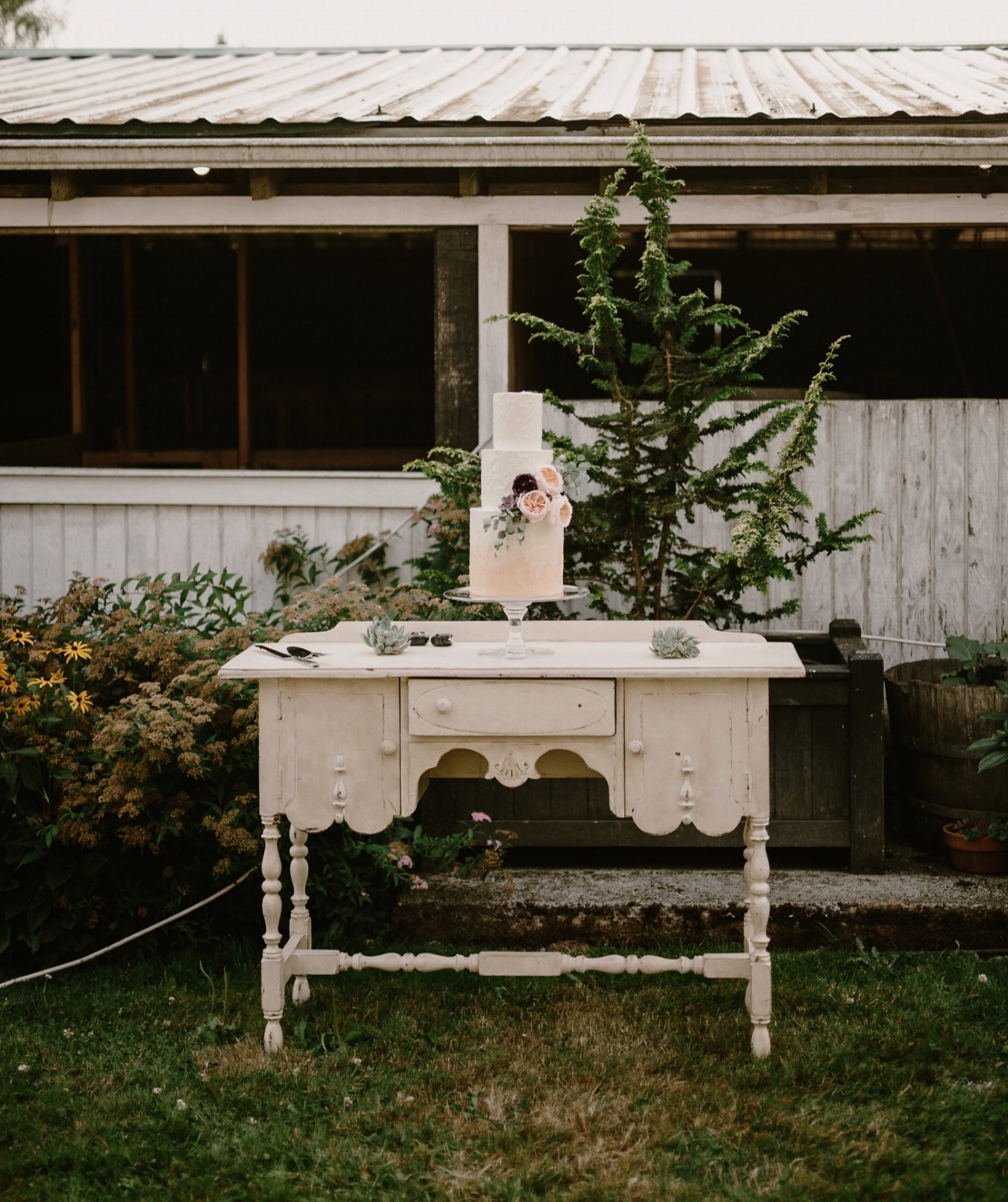 Cake on Vintage table with succulents-Photo by Kristen Marie Parker