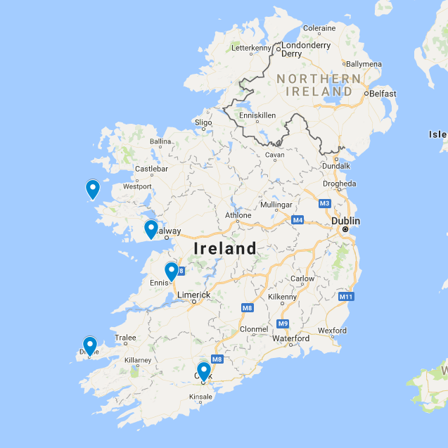 2016 Destinations Ennis, Cork, Dingle, Inishbofin and Spiddal (Galway)
