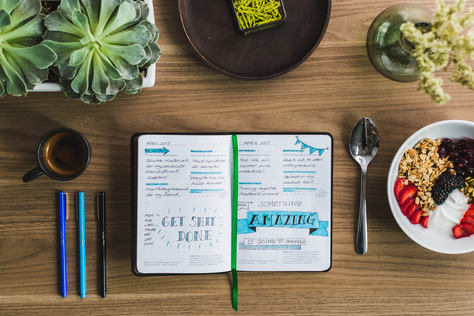 6 ways to positively reboot your brain. the image is of a notebook, fruit/granola bowl, spoon, plants.