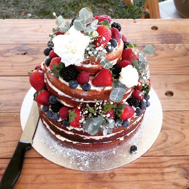 Cake with Flowers & Fruit