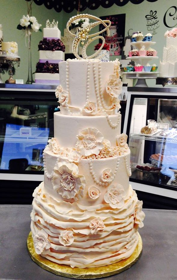 wedding cakes- ivory vintage pearls and ruffles.jpg