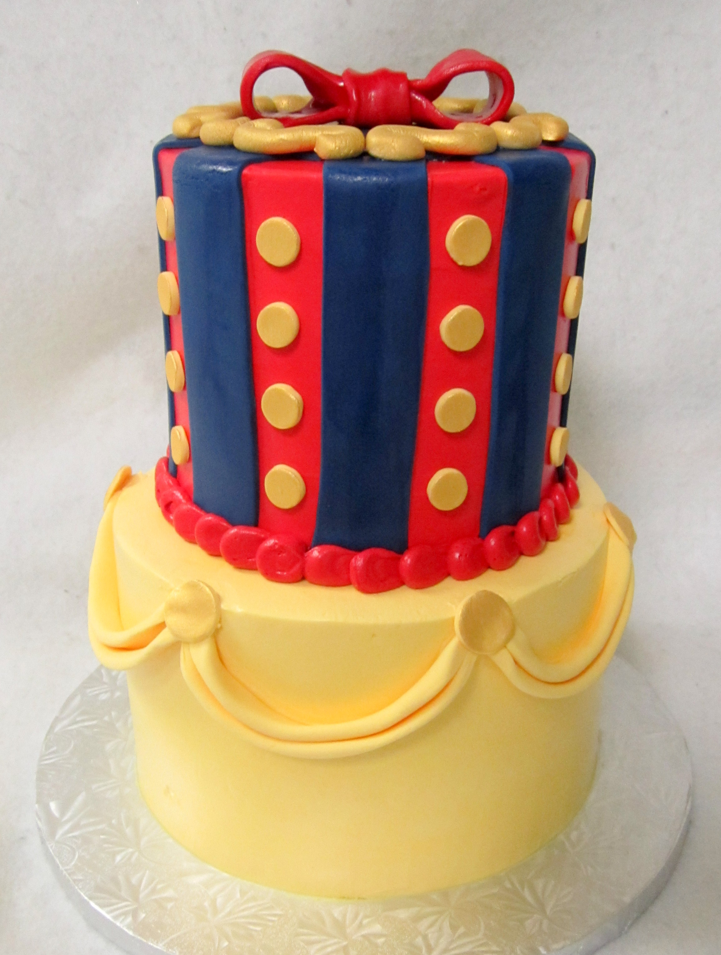 snow white cake-2 tier yellow.JPG