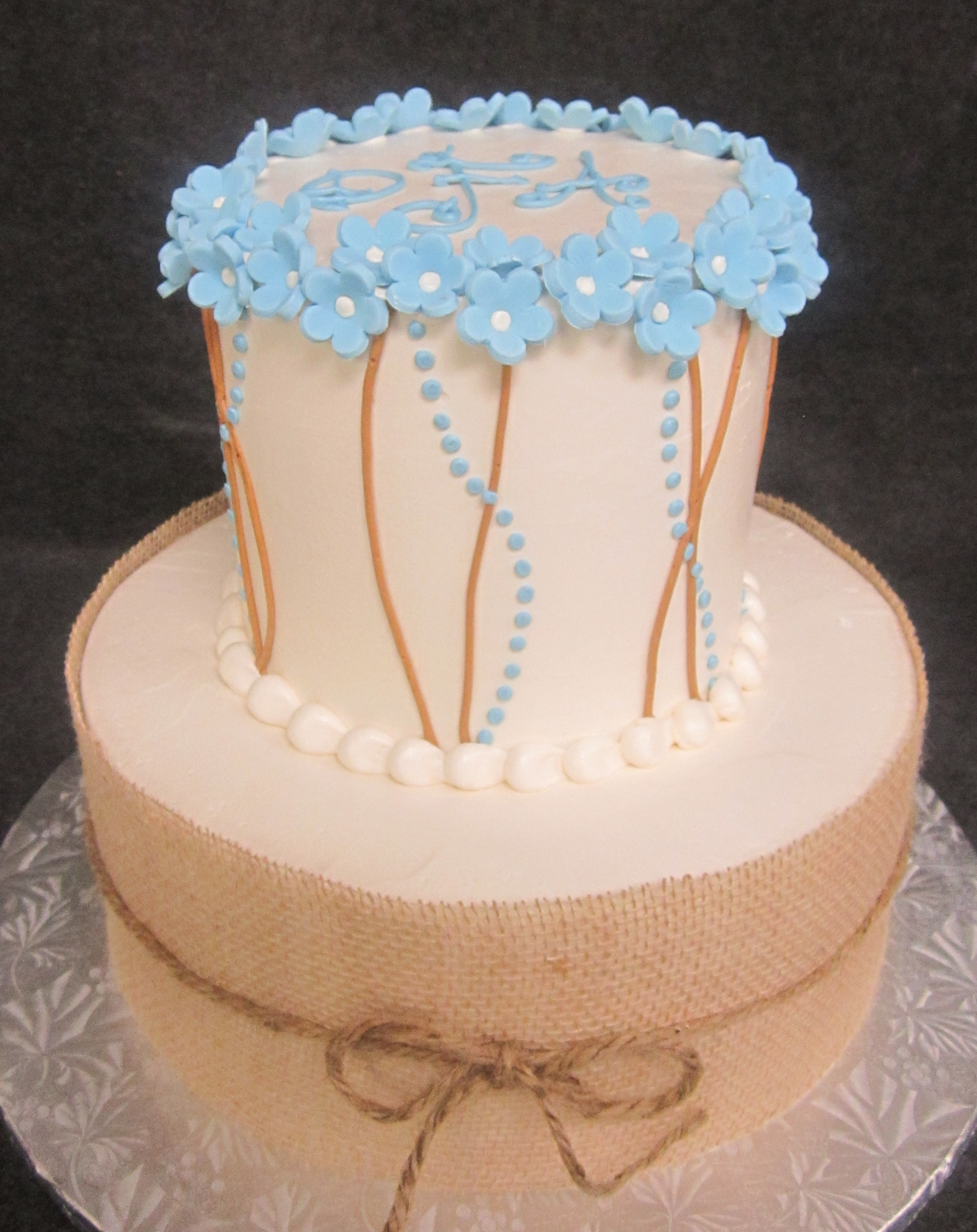 lt blue flowers and vines with burlap 2 tier.jpg