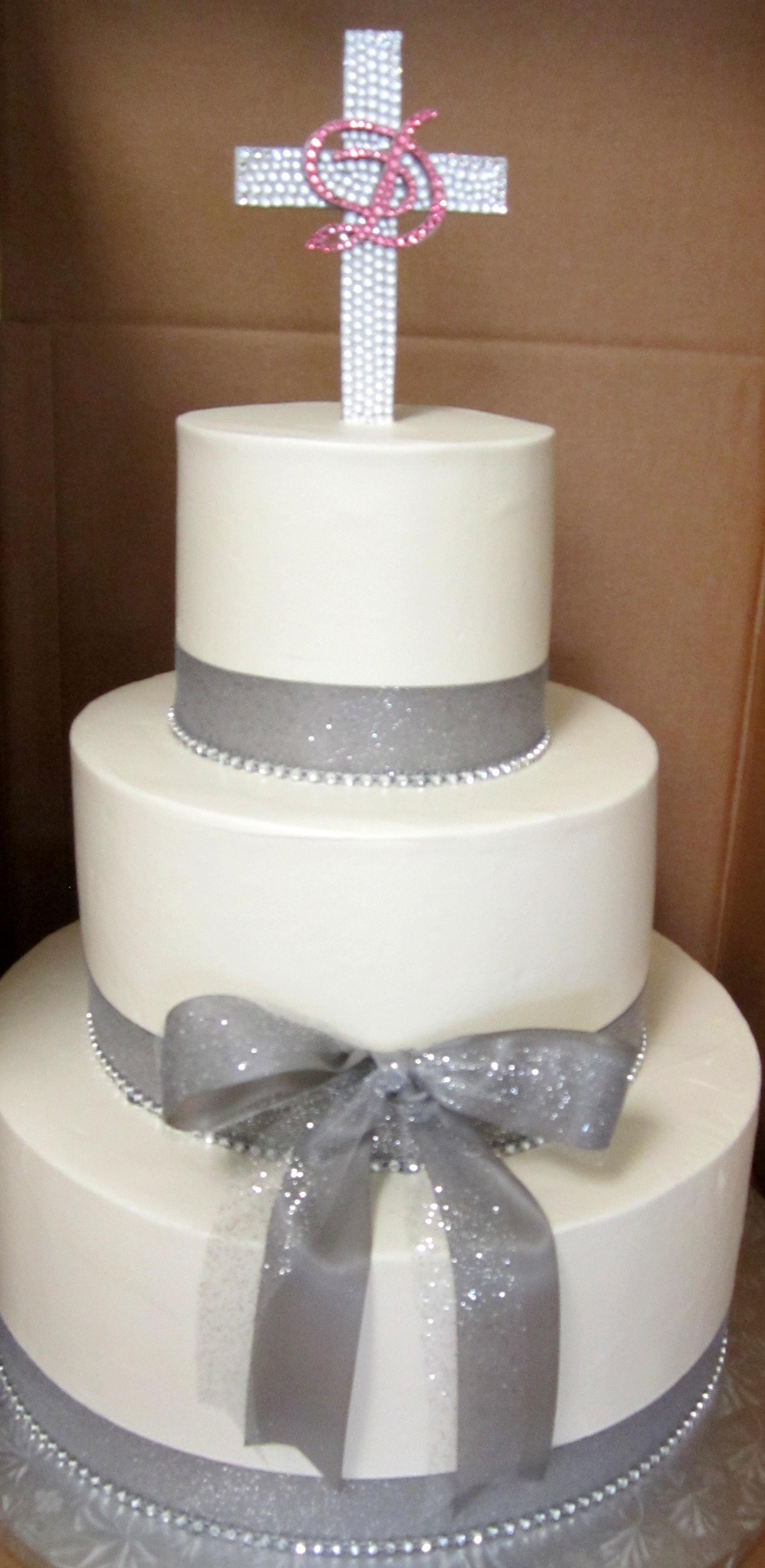 silver sparkly ribbon wrap with rhinestone cross.JPG