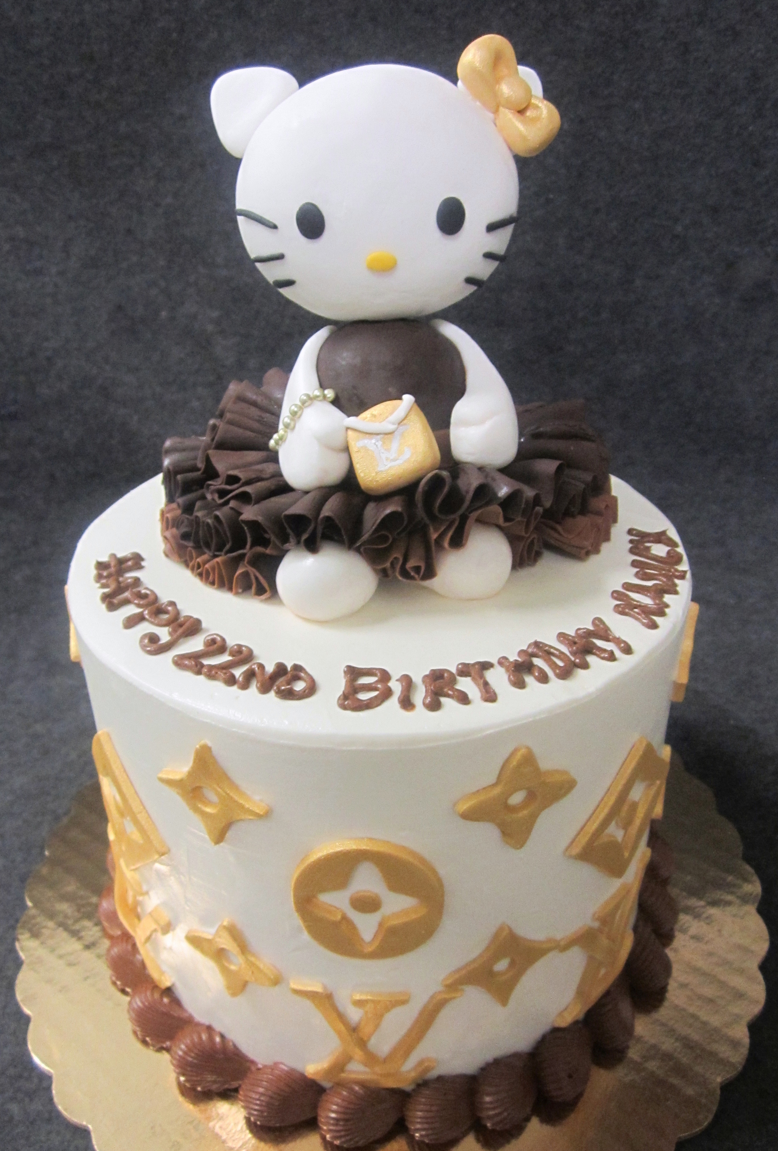 hello kitty louis vuitton gold and brown cake.jpg