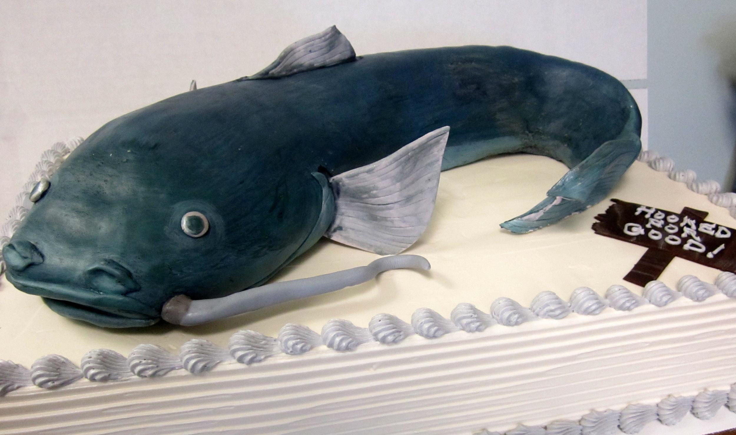 catfish 3-D on sheet cake.JPG