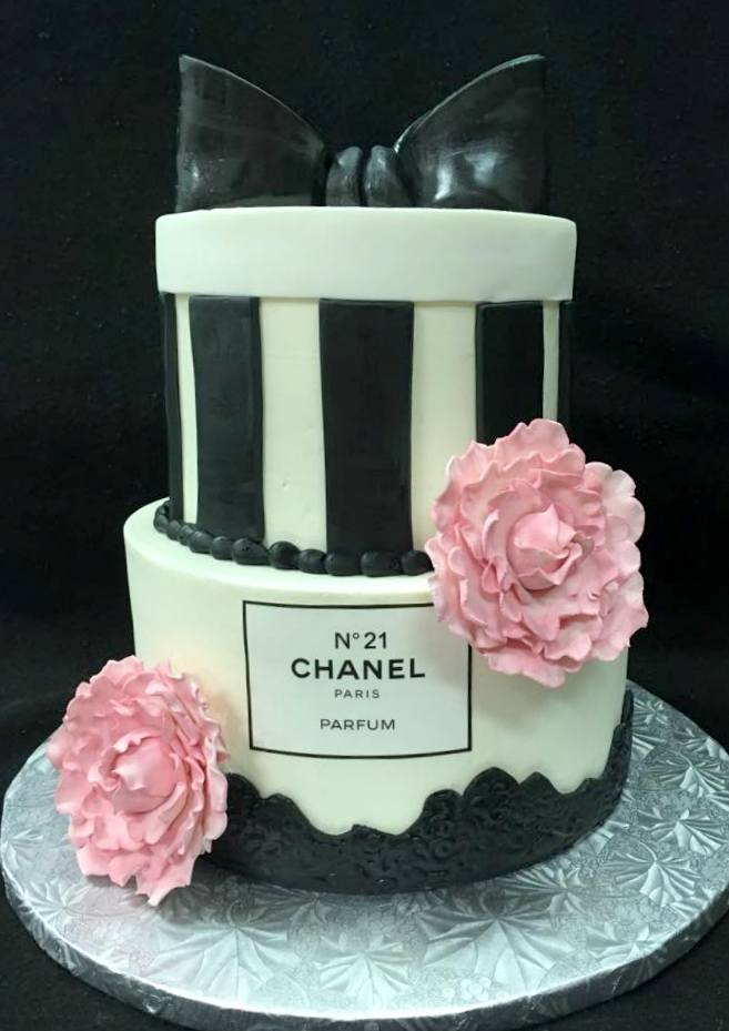 chanel cake with pink flowers and black stripes.jpg