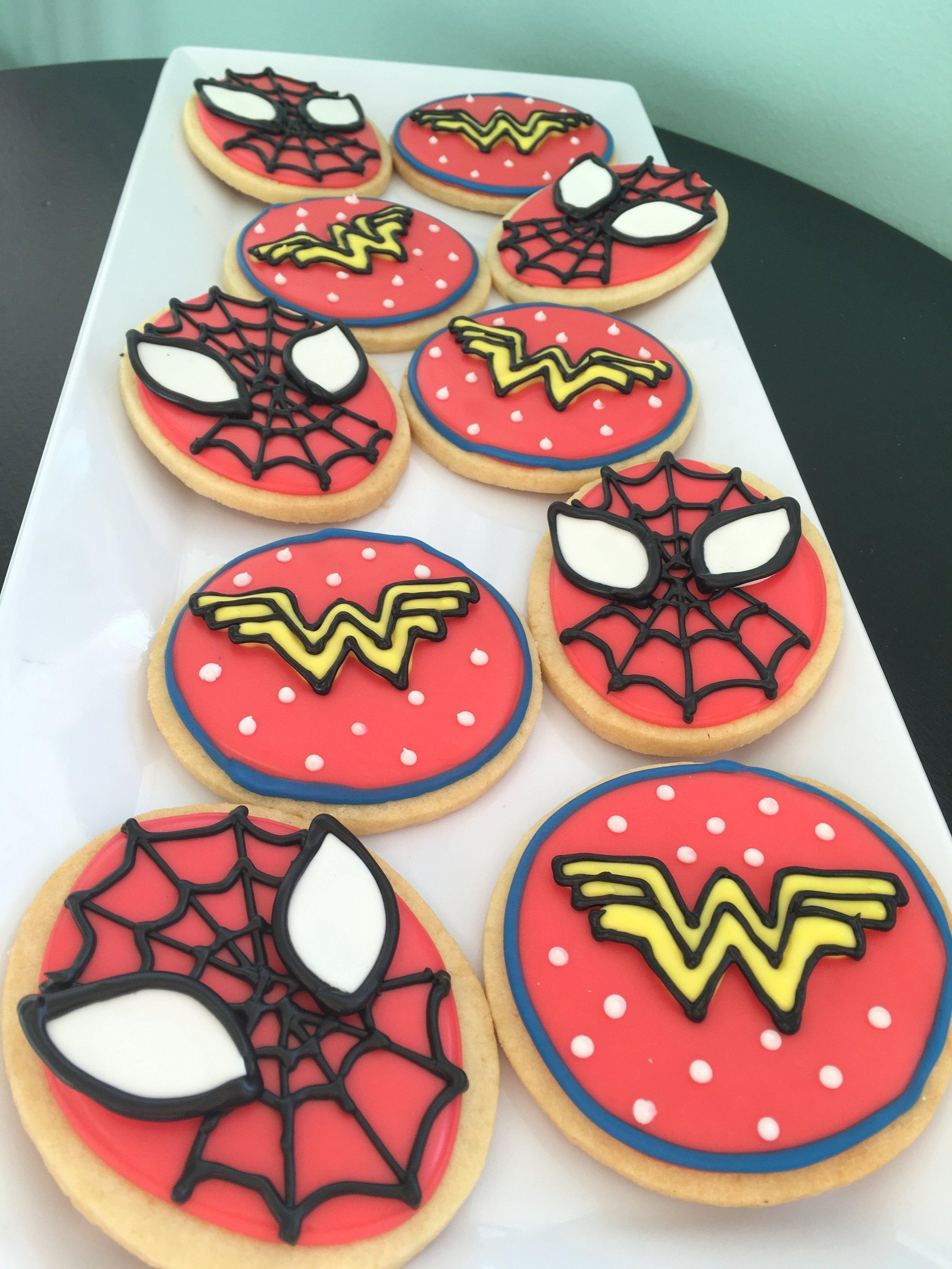 sugar cookies - spiderman wonder woman.JPG