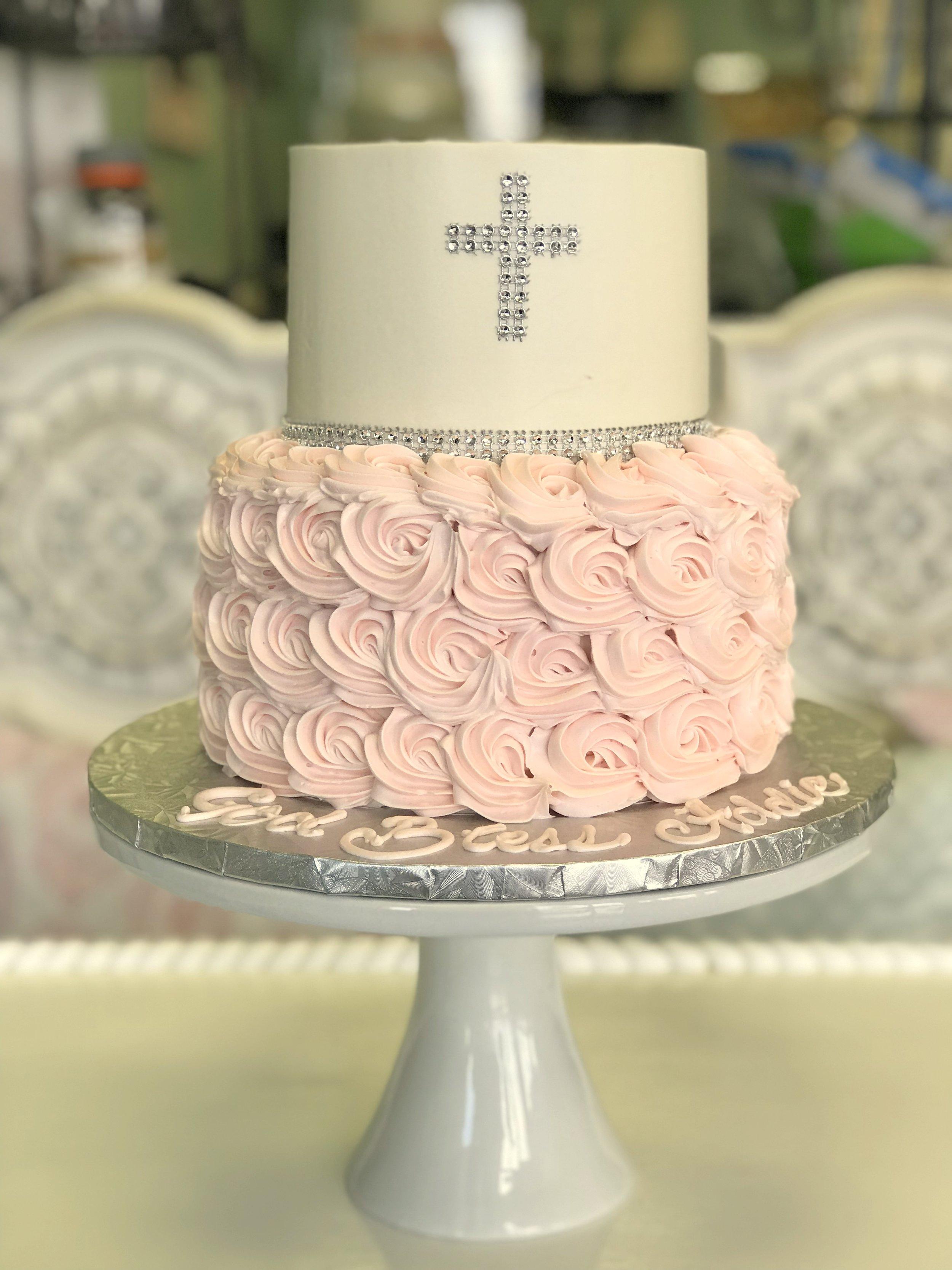 communion rhinestone cross pink rosettes.jpg
