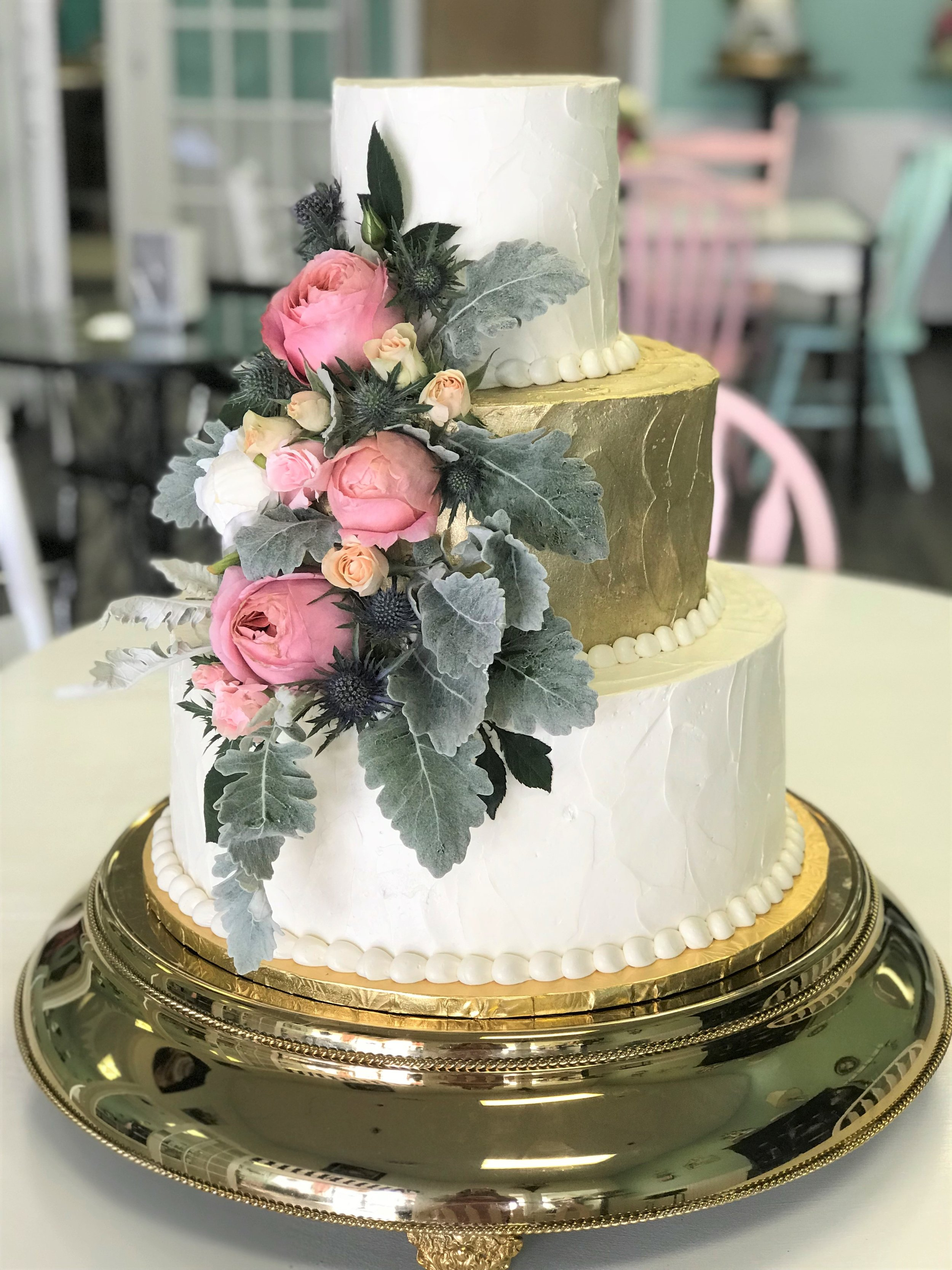 gold lustered buttercream lambs ear wedding cake.jpg