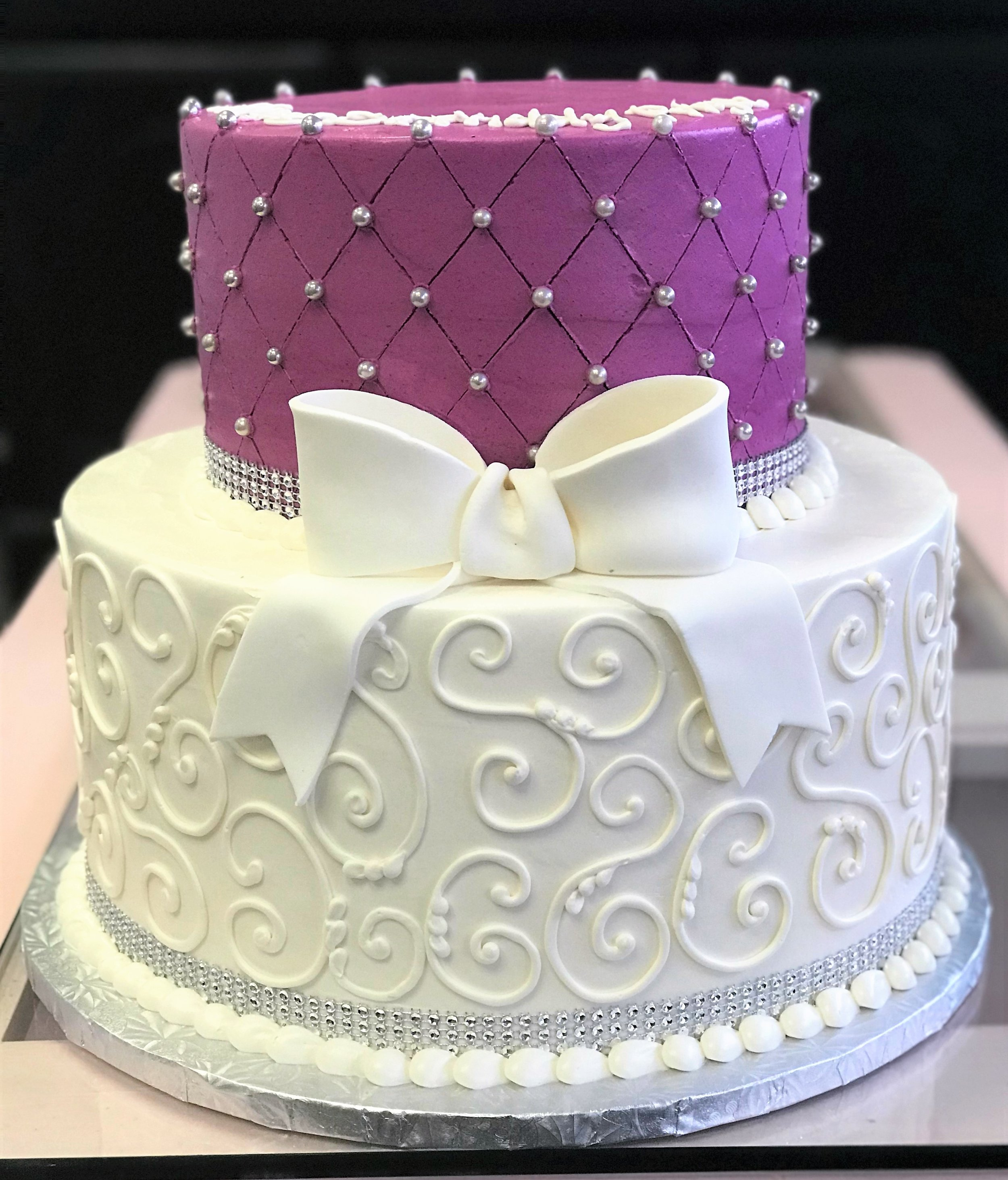 purple quilted cake with silver dragees.jpg