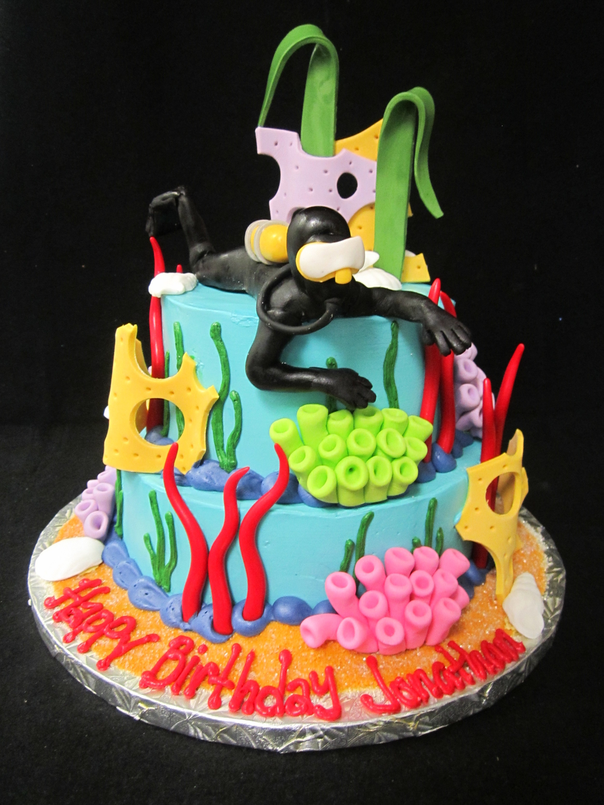 scuba diver and coral cake.JPG