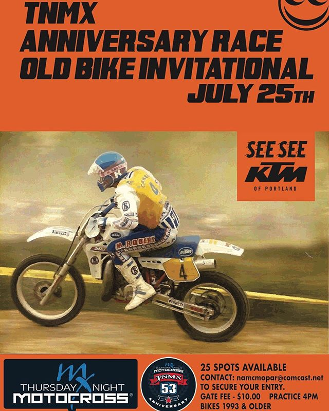 Next Thursday we are hosting an Old Bike invitational for the @thursdaynightmotocross Anniversary race! Come out to see old dudes on old bikes duke it out for all the glory! Think you have what it takes? Email nampmopar@comcast.net for a chance to enter. Limited 25 spots so not everyone will get in... sorry.