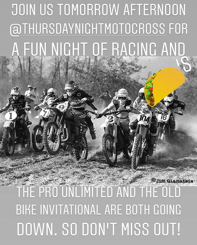 Some great racing and serious fun is happening @thursdaynightmotocross tomorrow. And we have our main shop tech @rickermortis whippin' up some of the best tacos this side of the Mississippi River. Come by our tent, say hi and grab a taco or two. . . . . #tacos #goodtimes #pnwmotocross #vintagemx #ktmofportland #seeseeriders