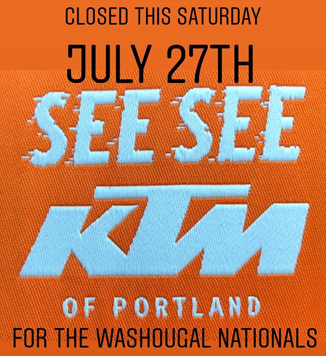 We will be closed this Saturday. But come by and see us at the @washougalmxpk we will be on the infield right next to the whoops section. The @redbull party stage is right next door and will be serving up good times all day. So come say hi and check out our new shop merch and @red_bull_ktm_racing apparel. . . . #ktmofportland #seeseeriders #pnwmotocross #washougalnationals