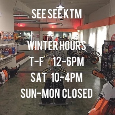 Greetings, just wanted to let you know we are still open 5 days a week. Tuesday-Friday 12-6pm Saturday 10-4pm  Sun-mon. Gone riding. #seeseektm