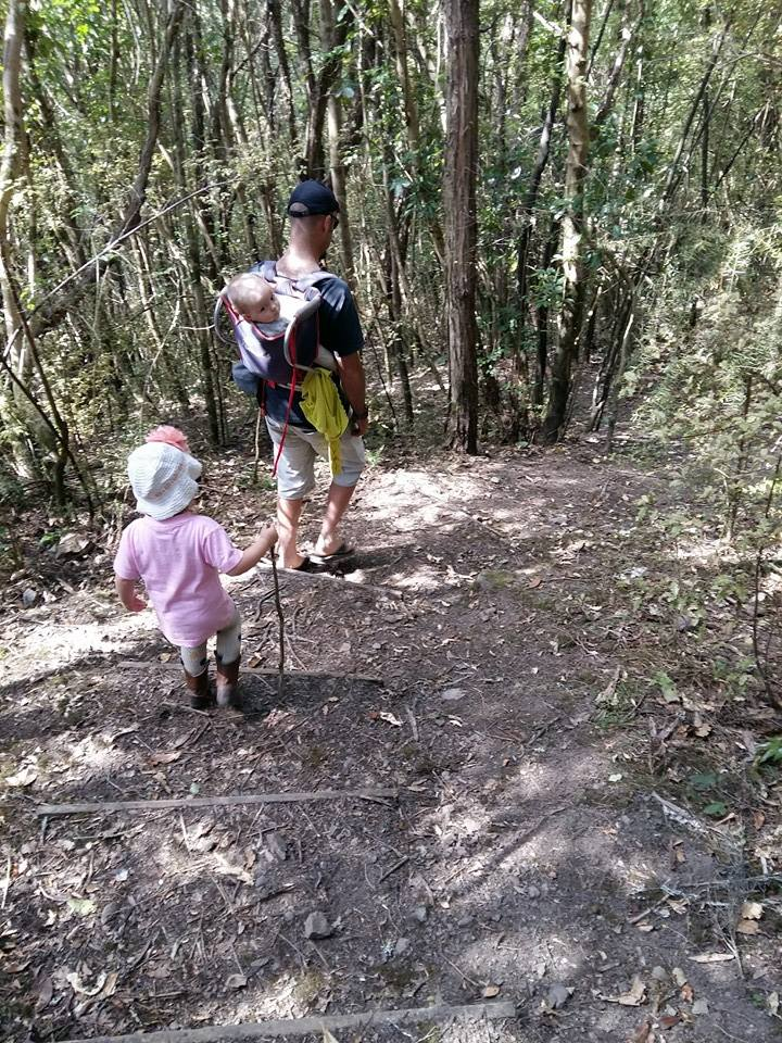 Izzy and Dad with their mustering Manuka hill sticks.