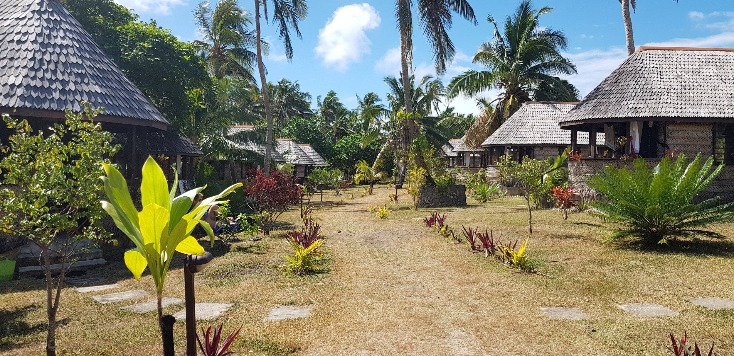 The Heilala Lodge fale's. Just behind the ones on the left is Haʻatafu beach.