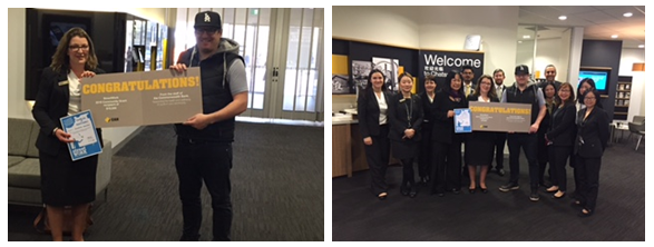 Photo 1: CBA Chatswood Branch Manager Rebecca Johnston and StreetWork Youth Services Manager Tim Sheerman. Photo 2: CBA Staff and StreetWork Staff and Volunteers.
