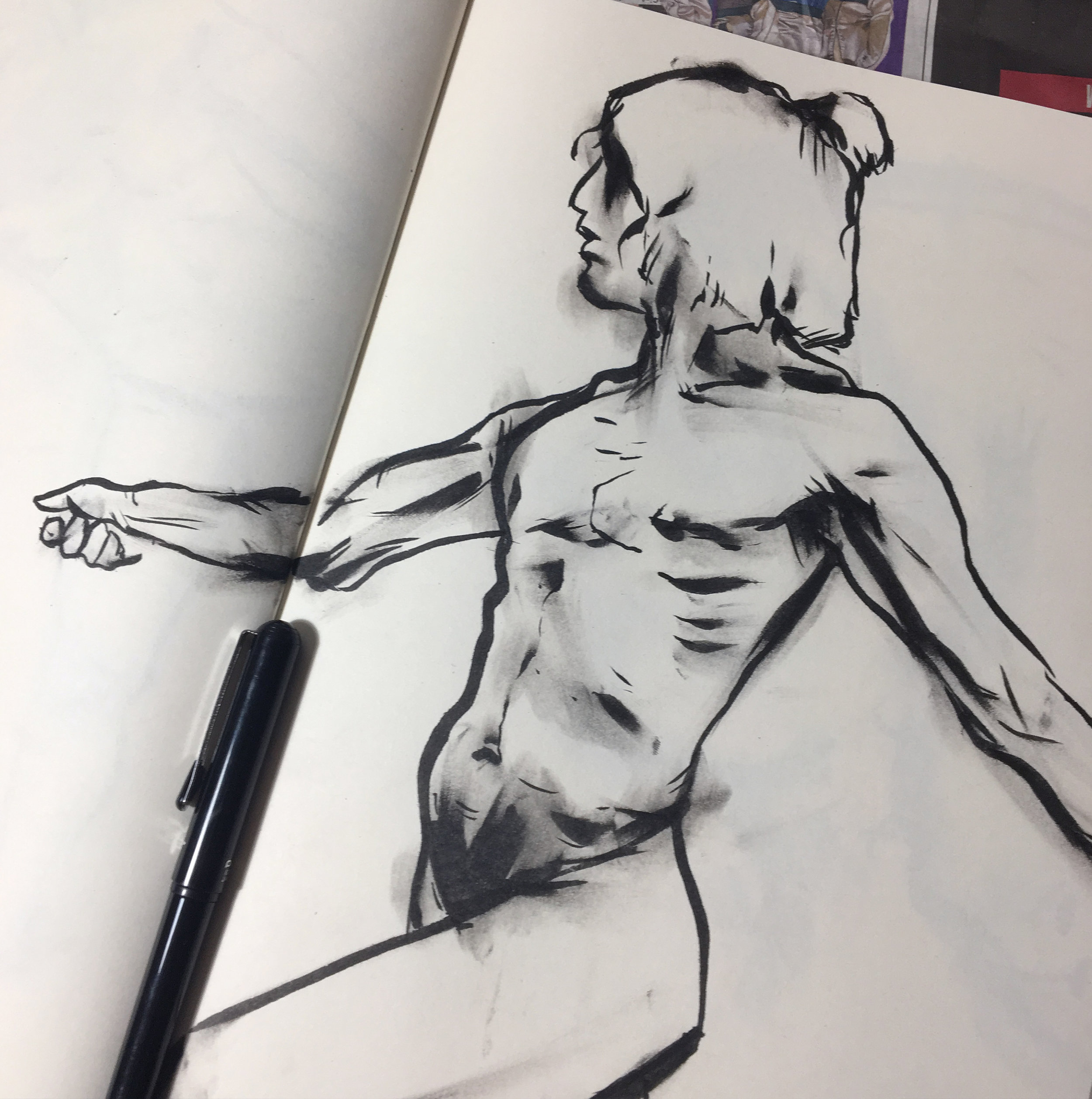 life drawing session using a brush pen (2018)