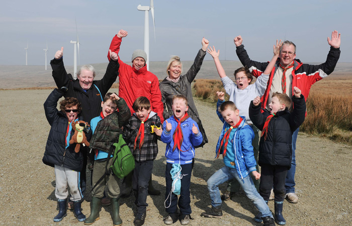 Scout Group at Scout Moor Wind Farm