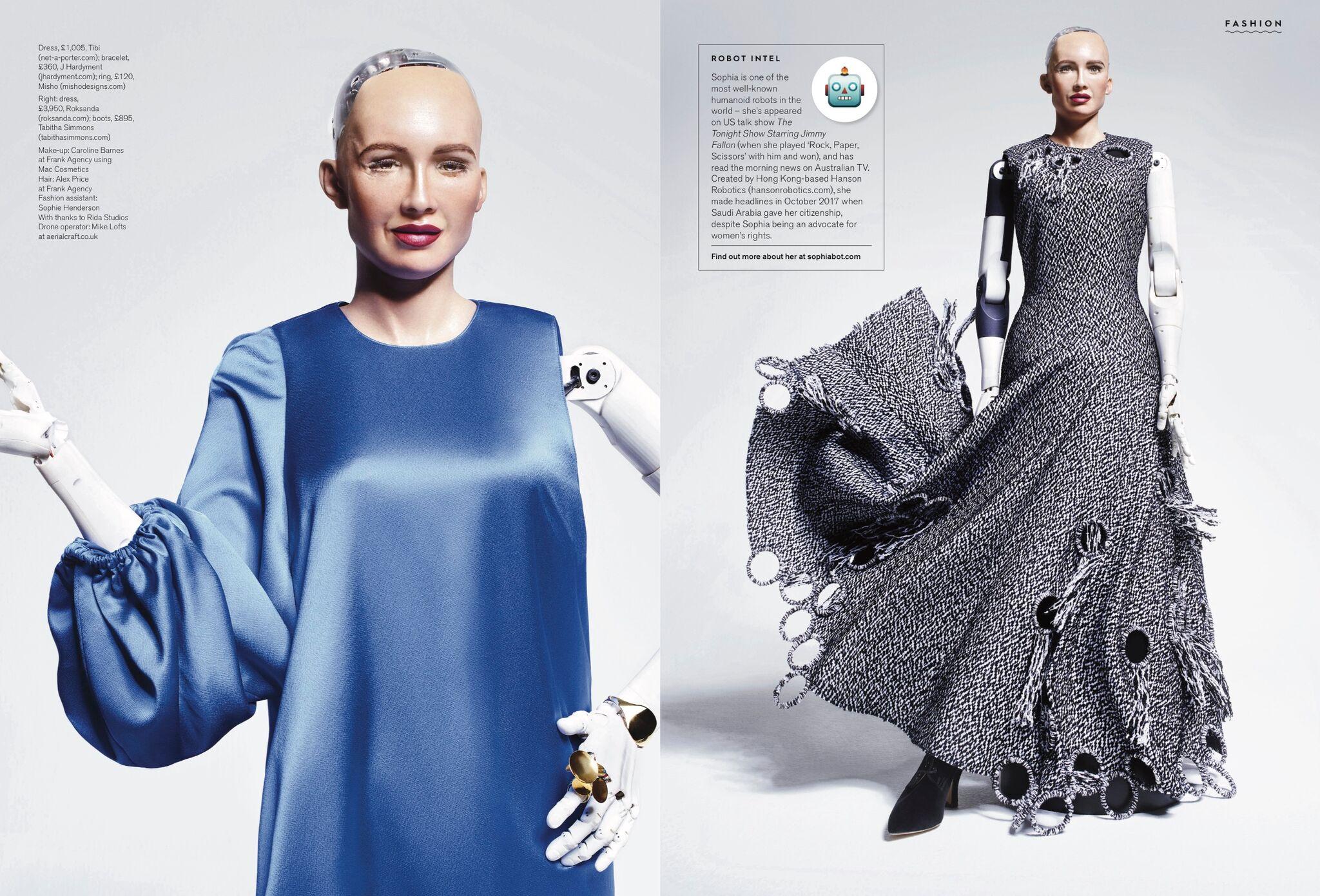 Sophia the Robot wear the 2 Face Bracelet in Stylist Magazine
