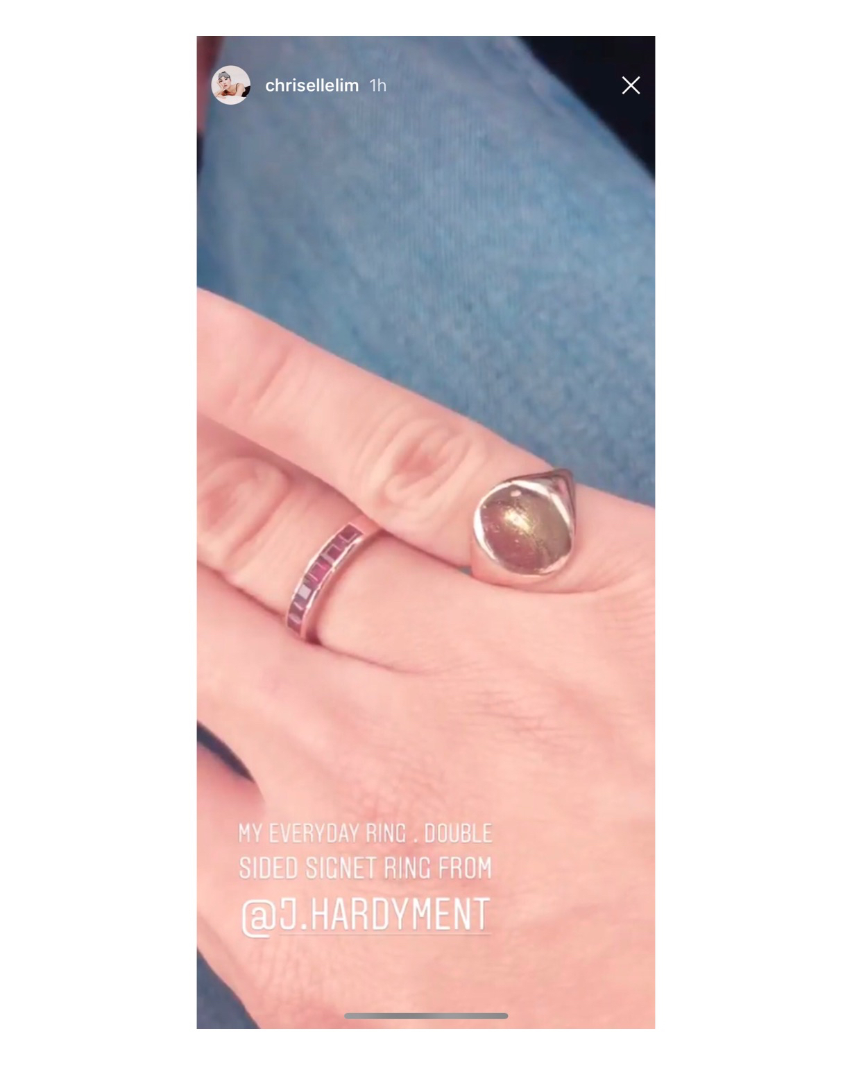 Chriselle Lim wearing her 2 Face Pinky Ring