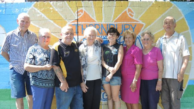 Thornbury Bowls Club Life Members    John Scarratt, Jean Chick, Alwyn McCarthy, Marj Walshe, Mary Wilson, Betty Hales, and Ron Wanstall with artist Brenna Quinlan.