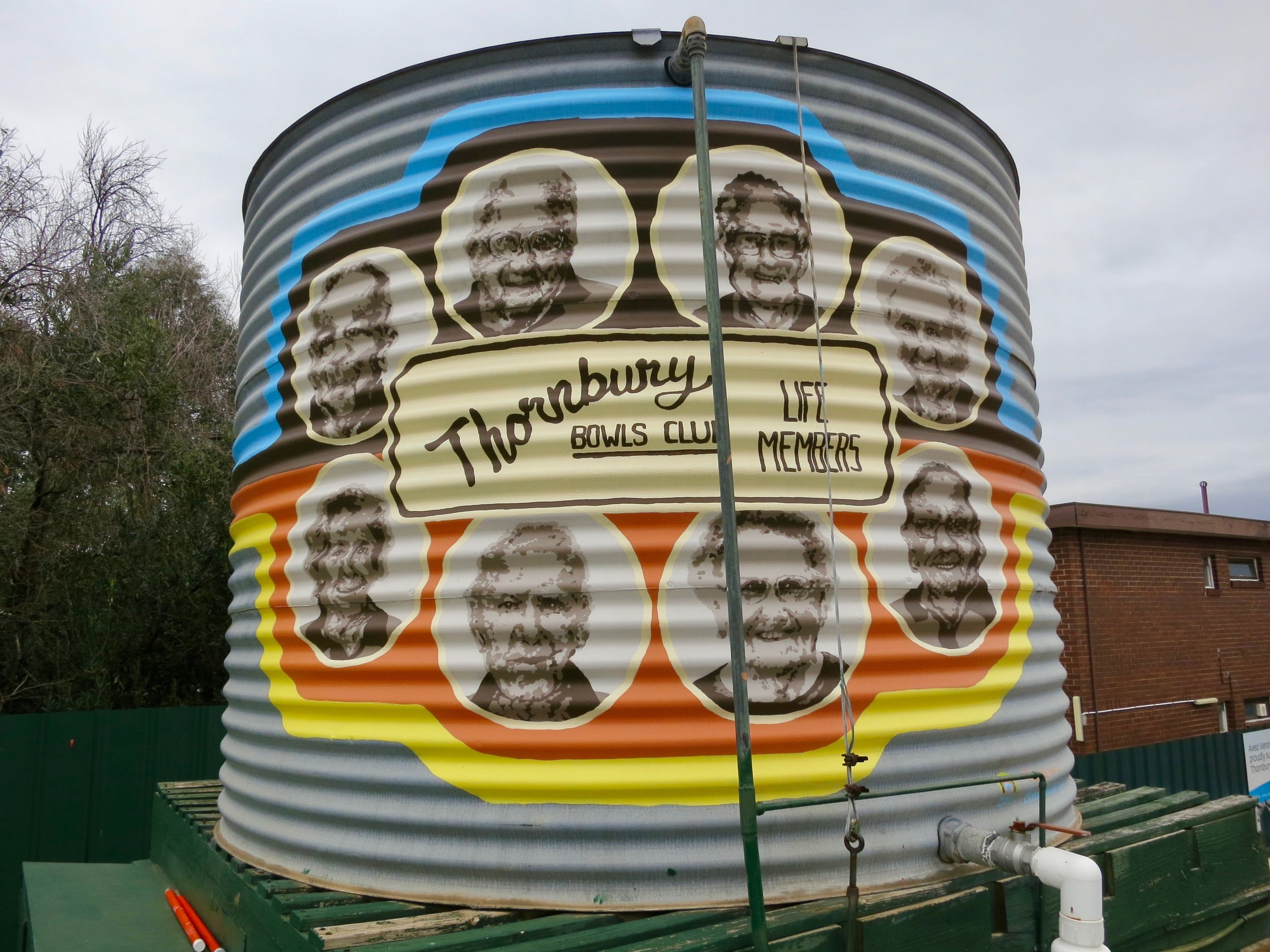 Brenna Quinlan's artwork the water tank of the Club's  Life Members