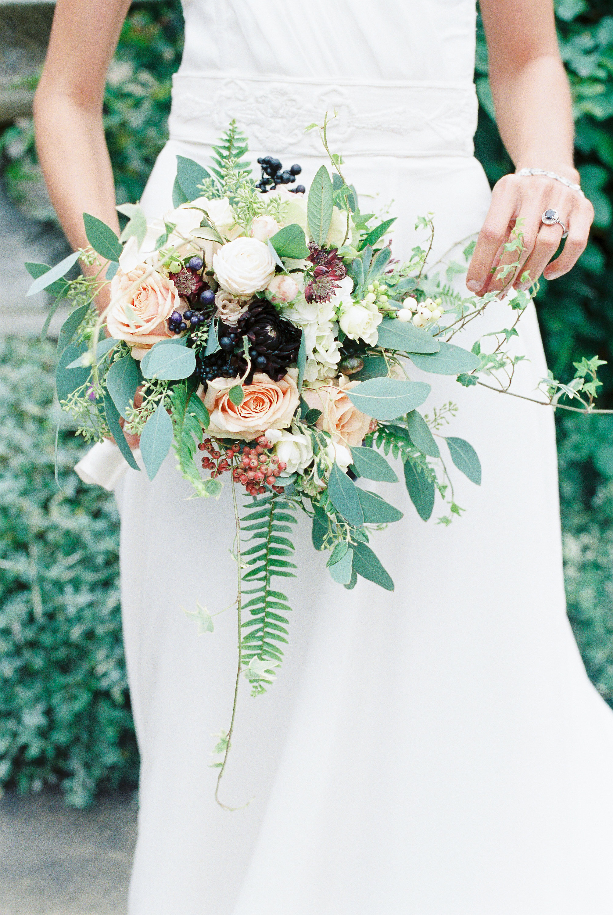 wedding bride bouquet dark fern foliage