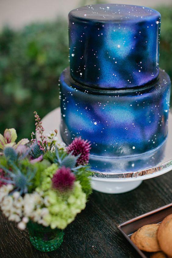 wedding inspiration ideas theme stars moon space cake