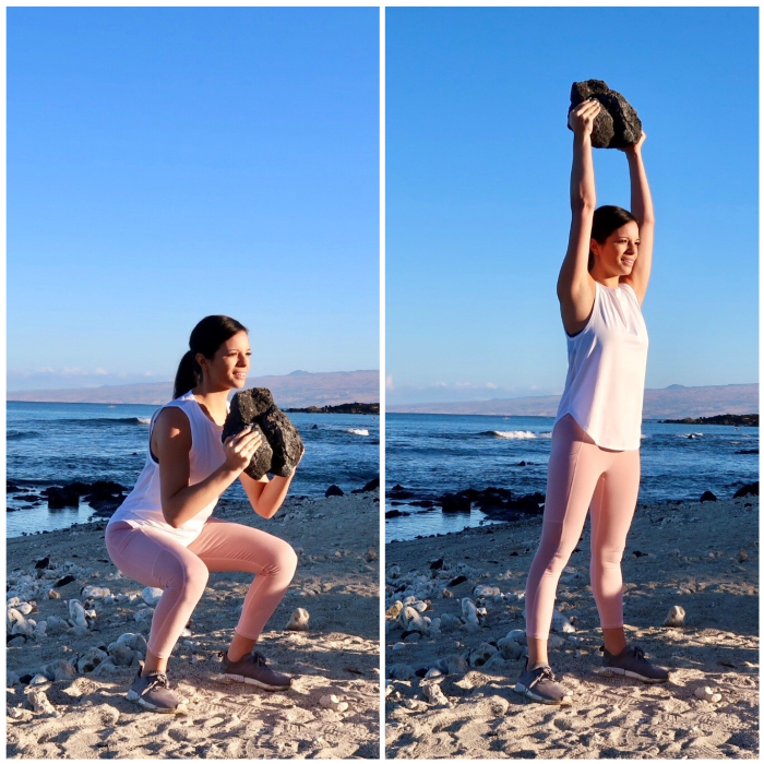 15 Weighted Squat + Press with weight  (find a water bottle, a duffle bag, book etc)