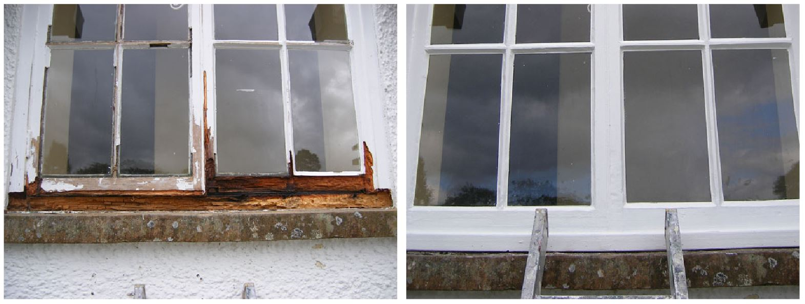 'Before' and 'after' on a rotten window frame