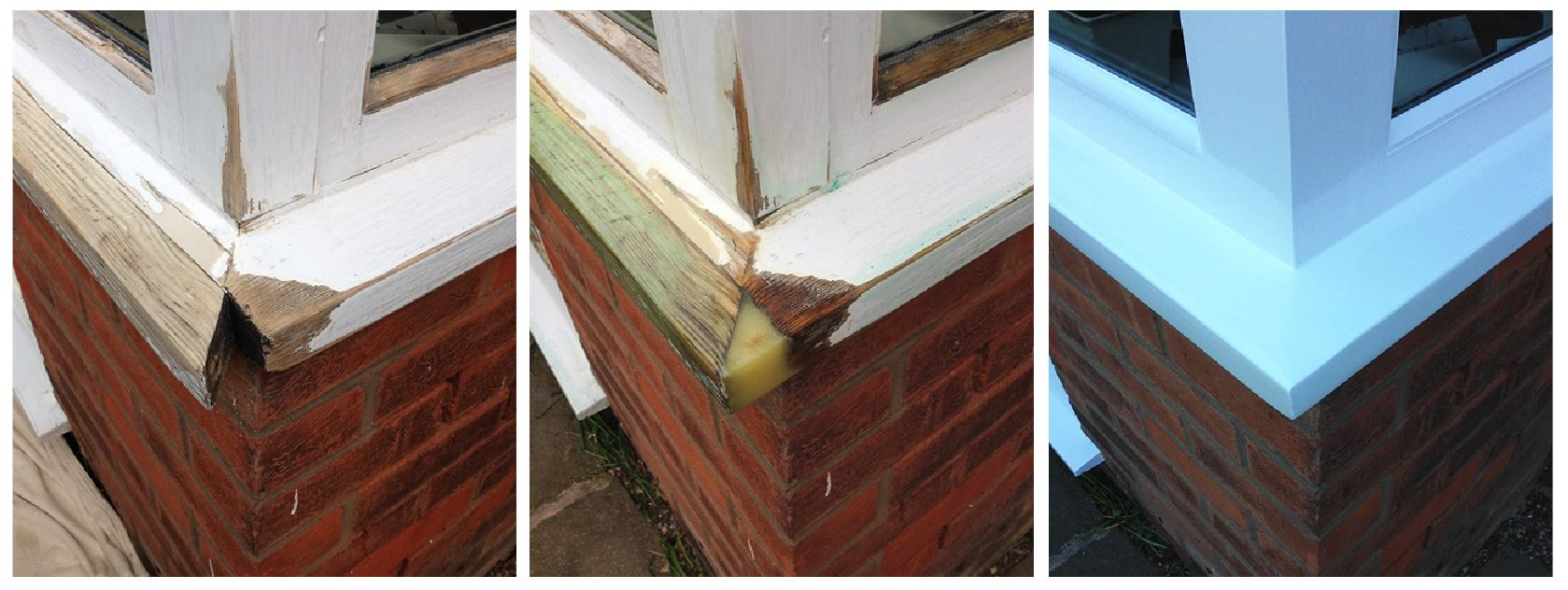 Three stages of woodwork repair and external decoration, using the Repair Care specialist range of products and methods