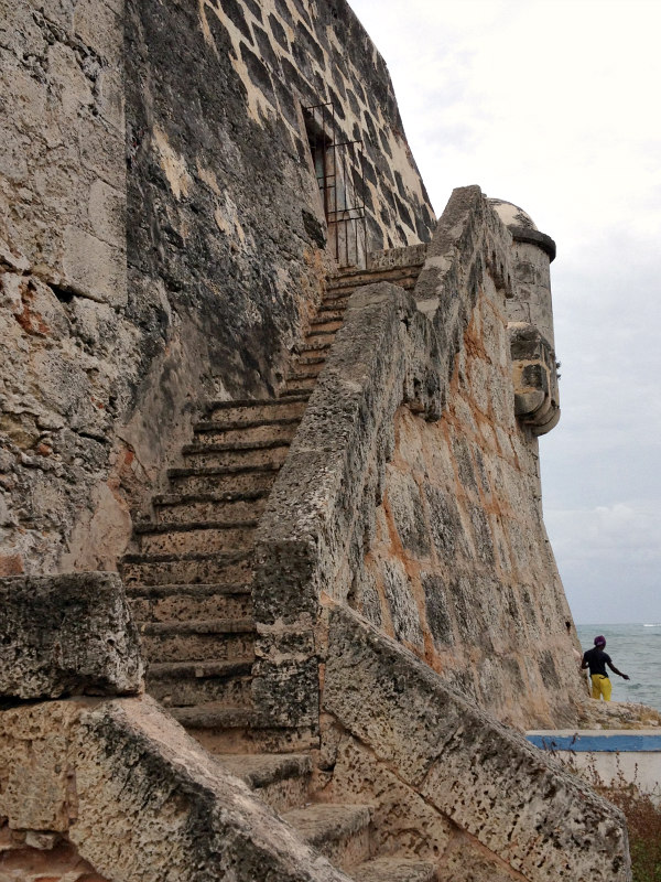 Coral-like rock used to construct ancient forts holds up to both hurricanes and lichen.